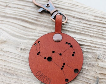 Orion Constellation Boho Leather Keychain Keyring - Stars Astrology star Bag Charm