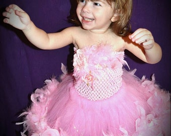 Pageant dress, birthday outfit, pageant ooc, pageant outfit, flower girl dress, wedding, cake smash outfit, flower girl, feathered tutu,baby