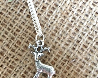 Silver Deer Necklace, stag necklace, reindeer necklace, charm necklace, silver necklace, nature, woodland