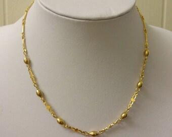 Gold Fancy Link Necklace, Gold Tone Link Necklace, Gold Link Necklace, Vintage Gold Necklace, Vintage Gold Chain, Chain Necklace