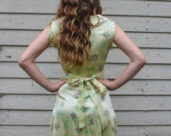 Vintage 1940's Yellow Silky Floral Polka Dot Summer Dress w/ peter pan collar