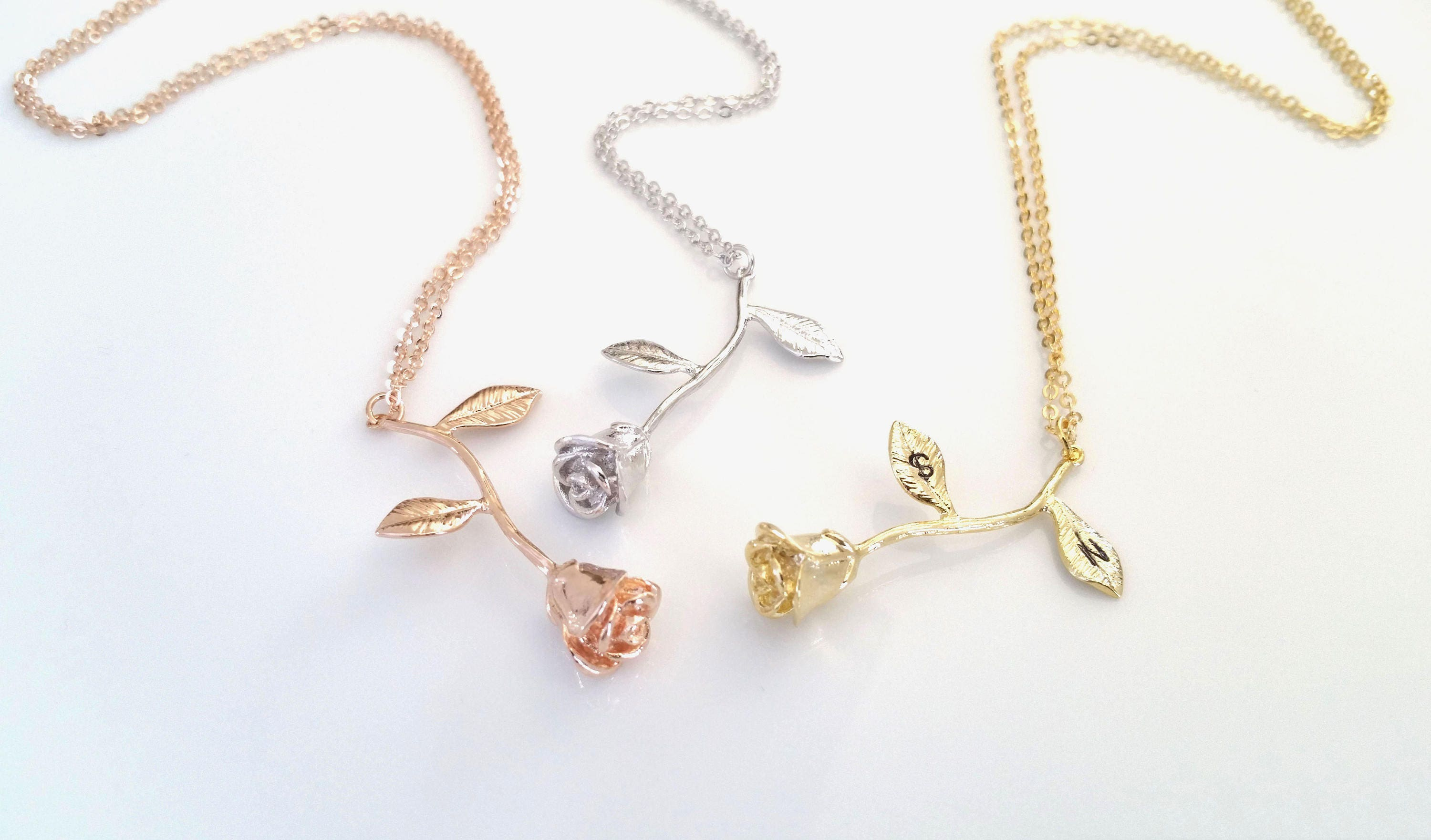 Rose Necklace Rose Gold Necklace Beauty And The Beast