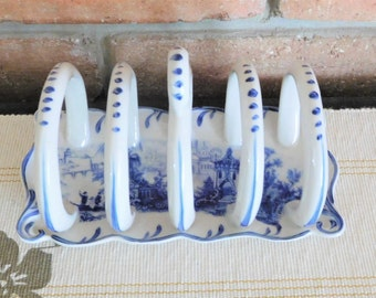 Somerton Green blue and white fine porcelain transfer printed toast rack vintage 1980s
