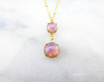 Fire Opal Necklace Pink Fire Opal Jewelry Vintage Glass Pendant Victorian Charm Faux October Birthstone Mother's Day Womens Gift For Her
