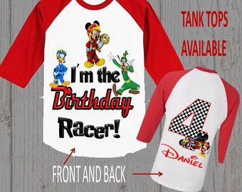 Mickey Mouse Roadster Racer Birthday Shirt - Mickey Roadster Racer Shirt - Tank Top Available