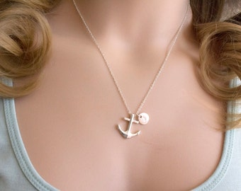 Silver anchor necklace, anchor necklace, nautical jewelry, nautical necklace, mother and baby, sisters necklace, SPANIN0117, christmas gift