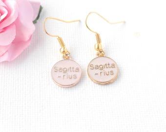 sagittarius earrings,sagittarius jewellery,sagittarius birthday, sagittarius gift, zodiac earrings, constellation earrings, gold earrings,