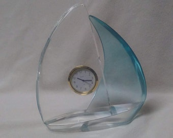 GLASS BOAT CLOCK, Blue sail and clear sail, Vintage