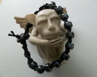 """BLACK HEMP BRACELET 9"""" with gunmetal glazed Glass Beads, Man sized, mens hemp"""