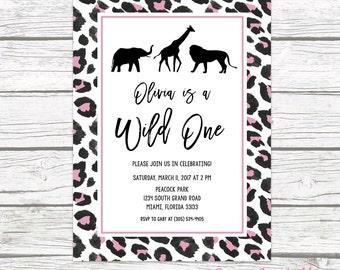 Wild One Birthday Invitation, Girl First 1st Birthday Invitation, Pink Leopard Animal Print, Safari Birthday Invite, Printable Invitation