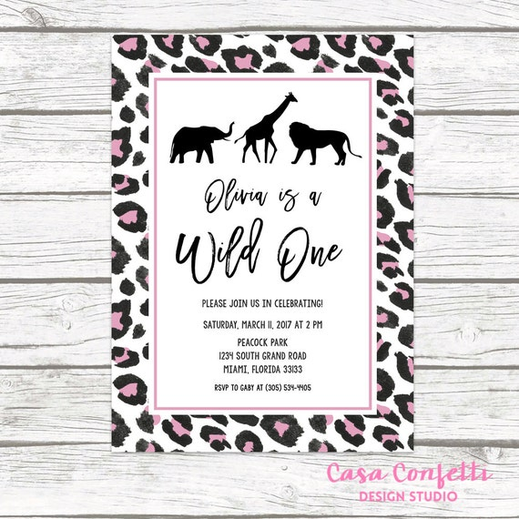 Pink Zebra Print Girls 1st Birthday Invitation: Wild One Birthday Invitation, Girl First 1st Birthday