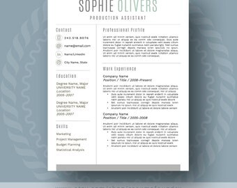 Modern Resume Template for Word, 1-3 Page Resume + Cover Letter + Reference