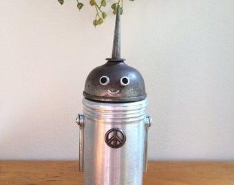 Robot, robot sculpture, robot art, metal robot, assemblage art, robots, assemblage, found object art,found object robot, found objects