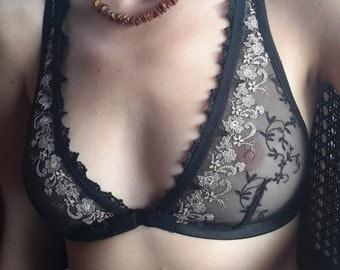 Triangle bra, lace, wedding, lingerie, women's clothing, handmade, gift for her, soft bra