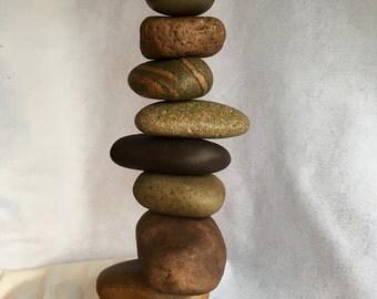 Stacked Rocks Off-center, Larger Wonky Cairn, Rock Garden Art