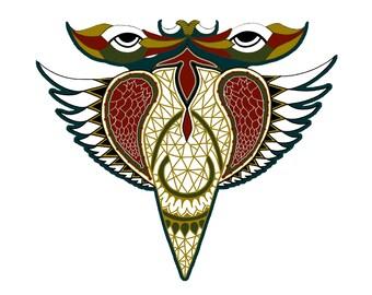 Free Bird Magnet- Fridge Magnet- Bohemian- Wings- Geometric Print- Refrigerator Magnet-Psychedelic Pins- Native American- Art Pins-African