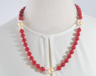 Red Shell Pearl  Bead with Cream Shell Pearl Accent Hand Knotted Women's Necklace.