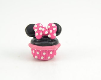 Minnie Pink Inspired Adorable Cupcake charm/keychain/necklace. Polymer clay cupcake-VVsGrotto