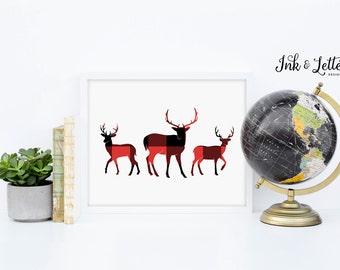 Adventure Nursery - Buffalo Plaid Deer Print - Deer Printable - Deer Wall Art - Red and Black - Plaid Printable - Instant Download - 8x10