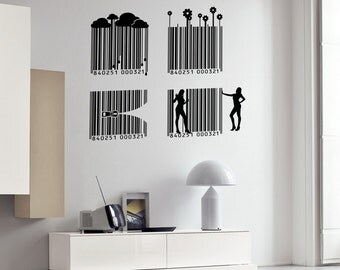 Wall Vinyl Decal Bar Codes Modern Pop Art Industrial Decor (#2402dn)
