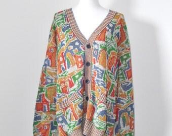 MISSONI SPORTS 80s vintage signature print oversized cardigan, made in Italy, men / women