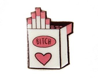 Punk Rock Girl Enamel Pin - Bitch Cigarette Carton in Pink - Riot grrrl flair - slur profanity