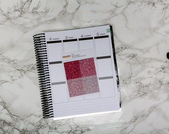 Pink Glitter headers / Erin Condren vertical / glossy glitter / glitter strips / glitter stickers / planner stickers / kit add-on