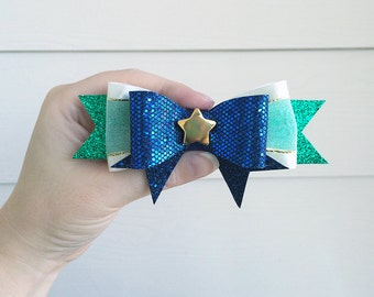 Sailor Neptune Bow / Sailor Moon Michiru Kaiou Cosplay Costume / Blue White Gold Anime Hair Bow / Soldier Senshi Broach Clip-On Barrette