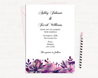Purple wedding invitation template Purple and pink wedding Invitation printable Lavender wedding Floral wedding invitations diy 1W63