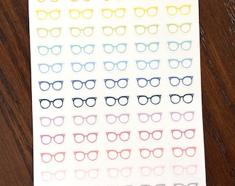 Glasses Planner Stickers - Eyeglasses Stickers - Rainbow Glasses - Reading Stickers - Cat Eye Glasses - Eye Doctor Appointment Stickers
