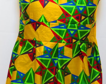Yellow  African dress with green design