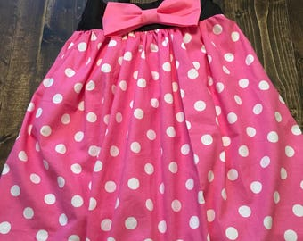 Minnie Mouse Dress with Bow Size 0-6 month, 6-12 month 2T, 3T, 4, 5, 6, 7, American Girl, Bitty Baby