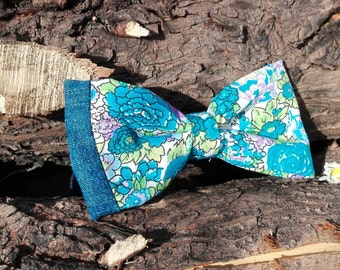 Floral blue bow tie with side detail in jeans.