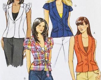 Butterick 5331 Sewing Pattern Shirt Vest Jacket Top Princess Seams Sleeves Ruffle Sleeveless Buttons Size 14 16 18 20 Bust 36 38 40 42 UNCUT