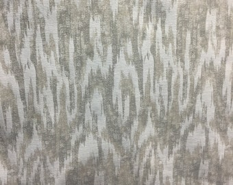 MODERN ALYSSA Cream Ikat CHENILLE Fabric  by the yard