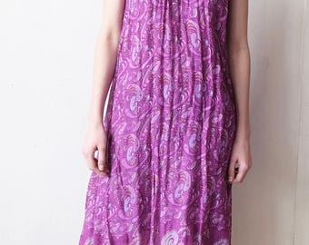 1960s India Spaghetti Strap Gauze Maxi Dress Made in India, Purplr, Paisley, Scoop Neck, Loose Dress, Festival Hippie Dress