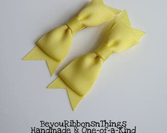 Yellow Bows Hair Clips for Girls Toddler Barrette Baby Kids Hair Accessories Grosgrain Ribbon No Slip Grip