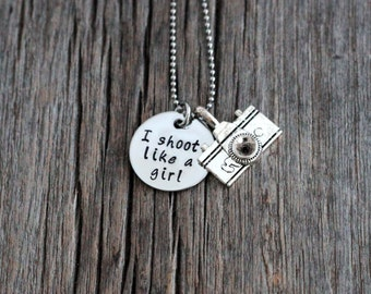 I shoot like a girl photographer's necklace, hand stamped