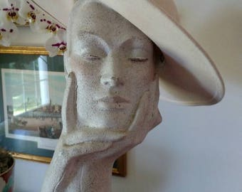 Vintage Liz Claiborne Winter White Felt 1980s Picture Hat with Tulle Mini Pom Pom and Velvet Ribbon Embellishment/ Winter Hat/ Wedding