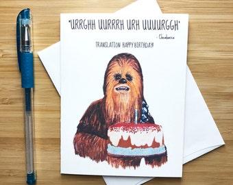 Chewbacca Birthday Card, Star Wars Birthday Card, Star Wars Gift, Han Solo, Darth Vader, The Force Awakens, Yoda, Happy Birthday Card