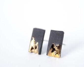 matte black earrings, bar ear climber earrings, bar stud earring, inspirational earrings, gold line earrings, simple earrings