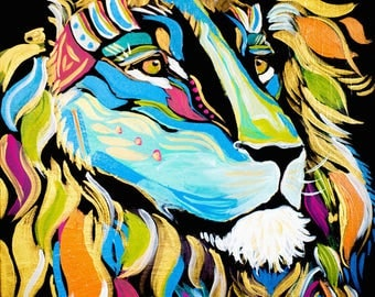 War Chief Lion Colorful Print of Original Acrylic on Canvas--Tribal Collection--Digital Download