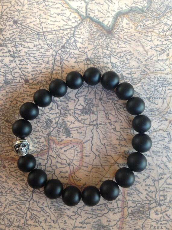 Natural men beads bracelet Onyx (big 10mm) & Sterling Silver Biker Bead