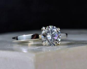 Moissanite Engagement Ring, Colorless Solitaire, Clear Gemstone, Unique Engagement, Round, Solitaire, Brilliant, Silver Engagement, Elegant