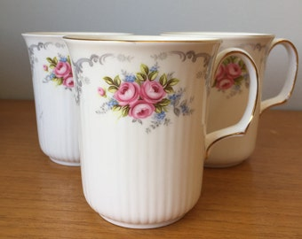 "Royal Albert ""Tranquility"" Vintage Coffee Cups, Pink Rose Coffee Mugs, Bone China Cups"