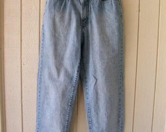 Vintage 1990s High Waisted Faded Blue Jeans | Prés De Chamonix Blue Jeans | Mom Jeans | Women's  Waist 25 inches