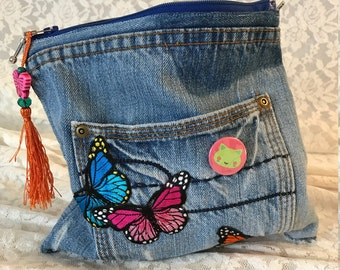 "POP bag ""Butterfly"" butterfly of Patches jeans vintage clutch bag in your Pocket communications"