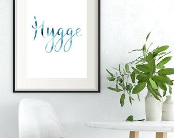 Hygge Print Hygge Wall Art Blue Prints Printable Blue Wall Art