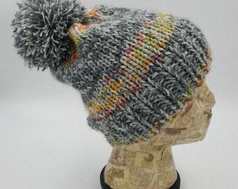 Fitted Beanie, Pom Pom Beanie, Grey Beanie, Winter Hat, Acrylic Hat, Winter Accessory, Hat with Pom Pom, Hat for Women, Striped Beanie