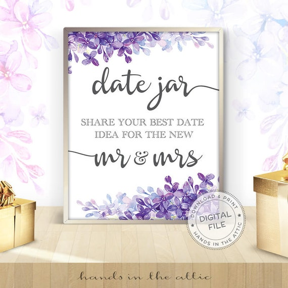 Date Jar Idea Sign And Cards Instant Download Printable: Date Jar Sign, Date Night Jar, Wedding Date Ideas, Date